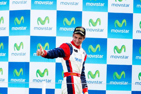 Round 3. Valencia, Spain. 27th June 2010.Sunday Race.Nico Muller, (Sui, Jenzer Motorsport) celebrates on the podium. Portrait.World Copyright: Glenn Dunbar/GP3 Media Service.Digital Image _G7C0813