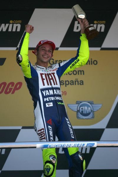 Jerez,Spain.1st - 3rd May 2009.Valentino Rossi Fiat Yamaha Team celebrates his win on the podiumWorld Copyright: Martin Heath/LAT Photographic.ref: BPI_Moto 80sj