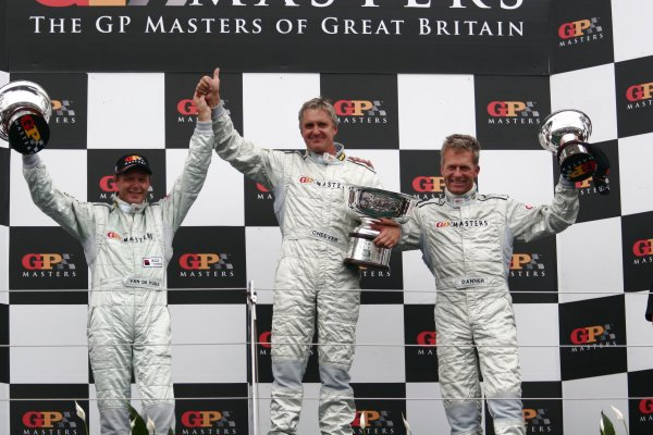 2006 Grand Prix Masters.Silverstone, England. 11th - 13th August.Eddie Cheever with Eric Van De Poele and Christian Danner  on the podium.World Copyright: Drew Gibson/LAT Photographic.Ref: Digital Image Only.