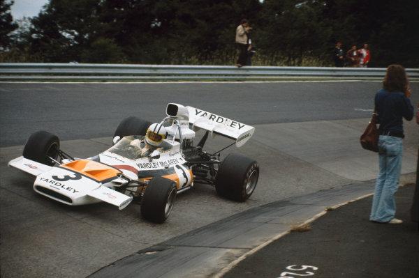 1972 German Grand Prix.  Nurburgring, Germany. 28-30th July 1972.  Denny Hulme, McLaren M19C Ford.  Ref: 72GER50. World Copyright: LAT Photographic