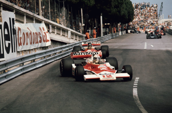 Monte Carlo, Monaco. 27th - 30th May 1976. Jochen Mass (McLaren M23-Ford), 5th position leads James Hunt (McLaren M23-Ford), retired, action.  World Copyright: LAT Photographic.  Ref: 76 MON 52.