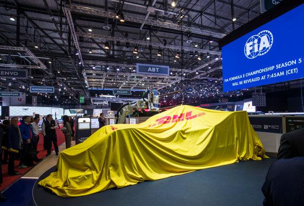 2017/2018 FIA Formula E Championship. Geneva Motor Show Tuesday 6 March 2018. The FIA Formula-E Gen2 car is unveiled. Photo: Sam Bloxham/LAT/Formula E ref: Digital Image _W6I3740