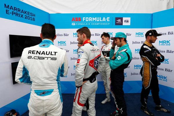 2017/2018 FIA Formula E Championship.Round 3 - Marrakesh ePrix.Circuit International Automobile Moulay El Hassan, Marrakesh, Morocco.Saturday 13 January 2018.Sebastien Buemi (SUI), Renault e.Dams, Renault Z.E 17, Maro Engel (GER), Venturi Formula E, Venturi VM200-FE-03, Alex Lynn (GBR), DS Virgin Racing, DS Virgin DSV-03, Luca Filippi (ITA), NIO Formula E Team, NextEV NIO Sport 003, and Andre Lotterer (BEL), TECHEETAH, Renault Z.E. 17, in the qualifying parc ferme.Photo: Zak Mauger/LAT/Formula Eref: Digital Image _56I5705