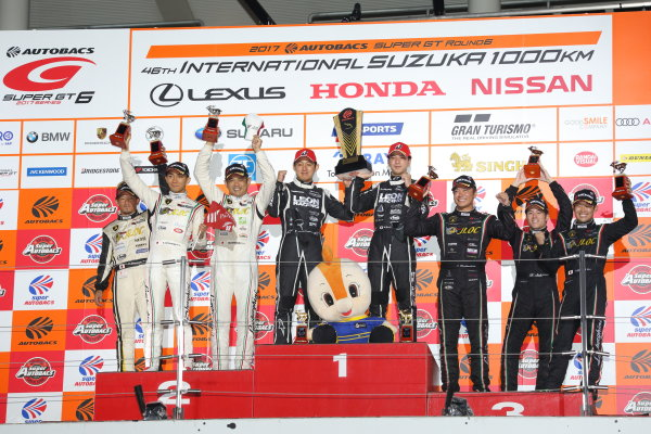 2017 Japanese Super GT Series. Suzuka, Japan. 26th - 27th August 2017. Rd 6. GT300 Winner Haruki Kurosawa & Naoya Gamou ( #65  LEON CVSTOS AMG ) 2nd position Manabu Orido, Kazuki Hiramine & Koji Yamanishi ( #88 MANEPA LAMBORGHINI GT3 ) 3rd position Shinya Hosokawa, Kimiya Sato & Yuya Motojima ( #87 SHOP CHANNEL LAMBORGHINI GT3 ) podium portrait World Copyright: Yasushi Ishihara / LAT Images. Ref: 2017SGT_Rd6_017