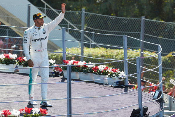 Autodromo Nazionale di Monza, Italy. Sunday 3 September 2017. Lewis Hamilton, Mercedes AMG, 1st Position, on the podium. World Copyright: Steve Etherington/LAT Images  ref: Digital Image SNE14446