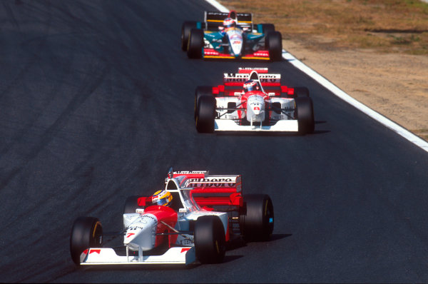 Tanaka International, Aida, Japan.20-22 October 1995.Mark Blundell followed by teammate Jan Magnussen (both McLaren MP4/10B Mercedes) and Rubens Barrichello (Jordan 195 Peugeot).Ref-95 PAC 01.World Copyright - LAT Photographic