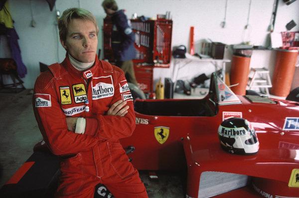 Stefan Johansson waits with his Ferrari 156/85 in the garage.