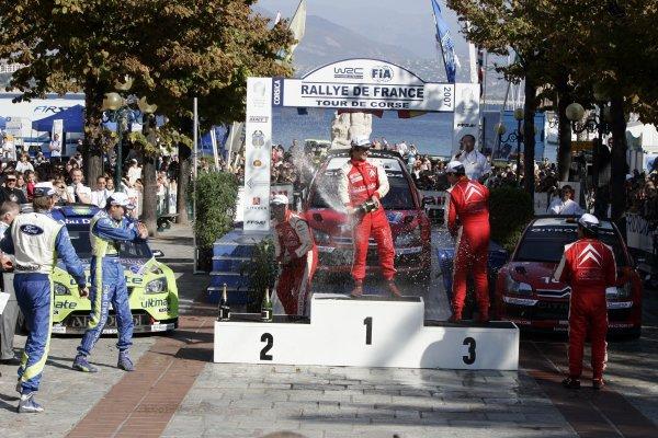2007 FIA World Rally ChampionshipRound 13Rally of France, Tour de Course 200711-14 October 2007Sebastien Loeb, Citroen, Podium.Worldwide Copyright: McKlein/LAT