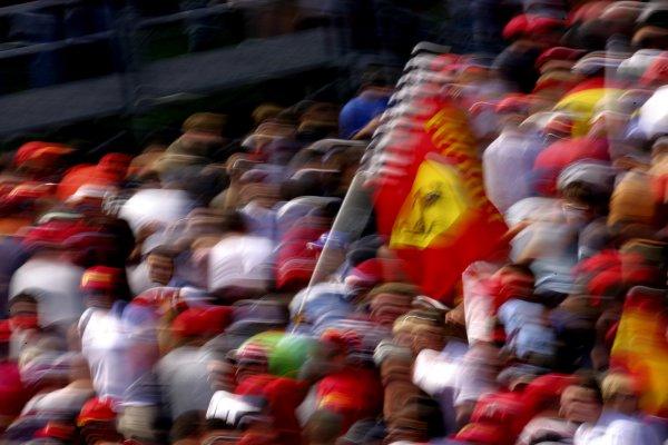 2007 Italian Grand PrixAutodromo di Monza, Monza, Italy.7th - 9th September 2007.Tifosi fans wave Ferrari flags from the crowd. Atmosphere.World Copyright: Lorenzo Bellanca/LAT Photographicref: Digital Image ZD2J8770