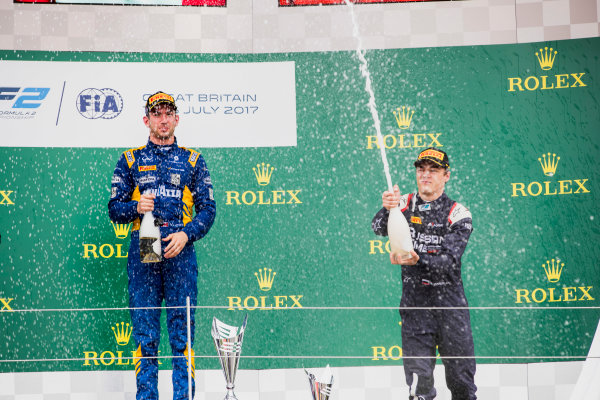 2017 FIA Formula 2 Round 6. Silverstone, Northamptonshire, UK. Sunday 16 July 2017. Nicholas Latifi (CAN, DAMS), Artem Markelov (RUS, RUSSIAN TIME).  Photo: Zak Mauger/FIA Formula 2. ref: Digital Image _56I0805