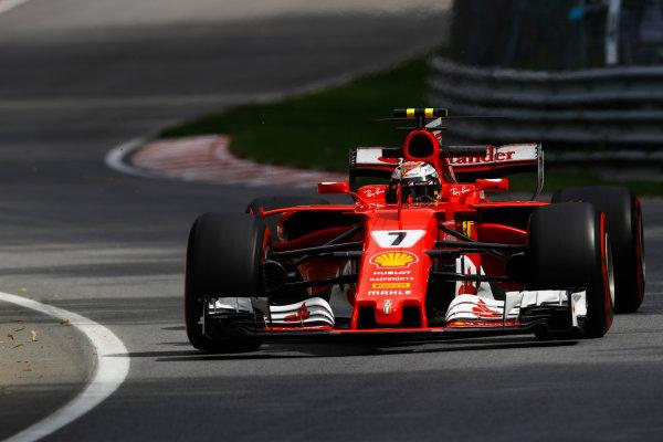Circuit Gilles Villeneuve, Montreal, Canada. Friday 09 June 2017. Kimi Raikkonen, Ferrari SF70H.  World Copyright: Steven Tee/LAT Images ref: Digital Image _O3I9049