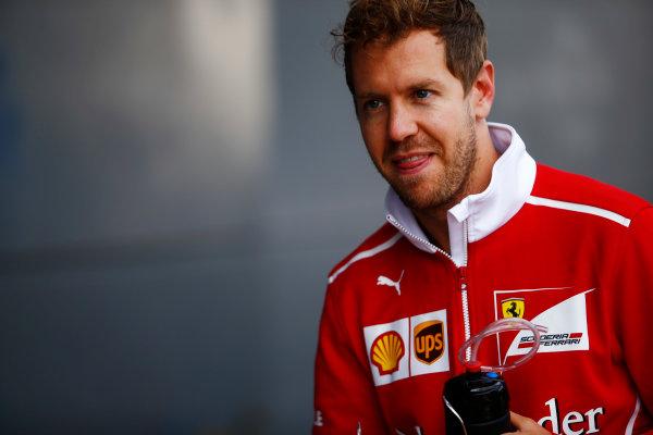 Silverstone, Northamptonshire, UK.  Friday 14 July 2017. Sebastian Vettel, Ferrari. World Copyright: Andy Hone/LAT Images  ref: Digital Image _ONZ5162