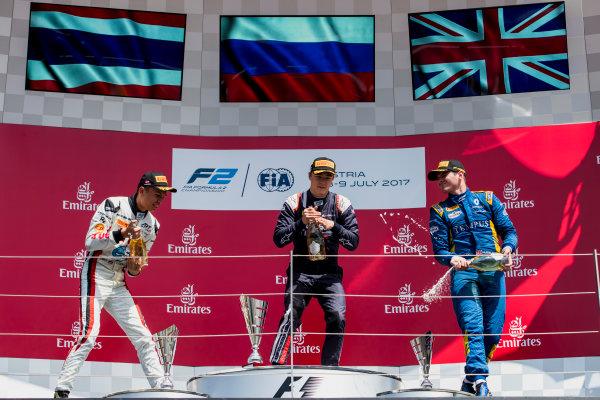 2017 FIA Formula 2 Round 5. Red Bull Ring, Spielberg, Austria. Sunday 9 July 2017. Alexander Albon (THA, ART Grand Prix), Artem Markelov (RUS, RUSSIAN TIME) and Oliver Rowland (GBR, DAMS).  Photo: Zak Mauger/FIA Formula 2. ref: Digital Image _54I0354
