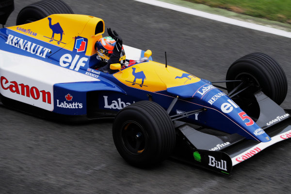 Williams 40 Event Silverstone, Northants, UK Friday 2 June 2017. Karun Chandhok demonstrates a Williams FW14 Renault. World Copyright: Zak Mauger/LAT Images ref: Digital Image _54I1986