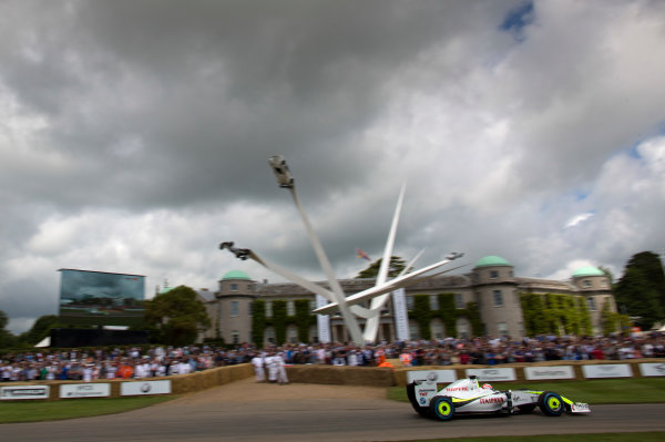2016 Goodwood Festival of Speed Goodwood Estate, West Sussex, England. 23rd - 26th June 2016. Martin Brundle in the Brawn GP BGP001 Mercedes. World Copyright: Alastair Staley/LAT Photographic Ref: Digital Image 585A0740