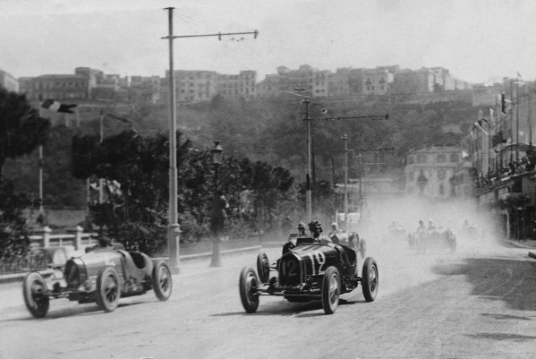 """Monte Carlo.14 April 1929.Philippe Etancelin (Bugatti T35C, number 4) and """"W Williams"""" (real name William Grover-Williams, Bugatti T35B) at the start. """"Williams"""" finished in 1st position.Published-Autocar 19/4/1929 p793.World Copyright - LAT Photographic"""