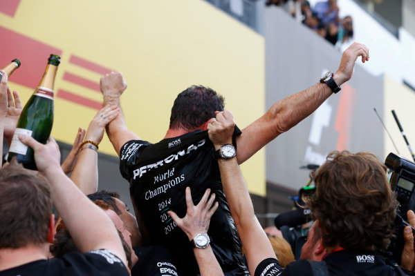 Suzuka Circuit, Japan. Sunday 09 October 2016. The Mercedes team celebrate victory in the Constructors championship. World Copyright: Steven Tee/LAT Photographic ref: Digital Image _R3I9196