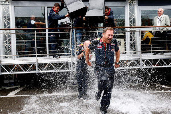 Spa-Francorchamps, Spa, Belgium. Saturday 23 August 2014. Adrian Newey, Chief Technical Officer, Red Bull Racing, and Christian Horner, Team Principal, Red Bull Racing. receive a soaking from Sebastian Vettel, Red Bull Racing, and Daniel Ricciardo, Red Bull Racing, after being nominated for the Ice Bucket Challenge. World Copyright: Alastair Staley/LAT Photographic. ref: Digital Image _R6T4867
