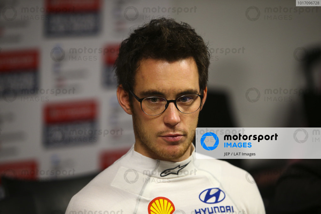 Thierry Neuville speaks to the media.