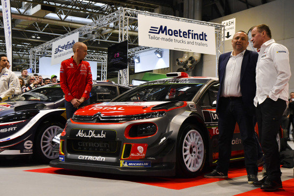 Paul Nagle (IRE) and Yves Matton (FRA) Citroen WRC Team Principal and the team unveil their 2018 challenger at Autosport International, Day One, NEC, Birmingham, England, Thursday 11 January 2018.