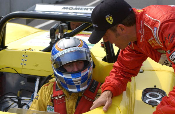2002 Mont- Tremblant 6hr. Grand Am, Tremblant, CanadaSeptember 2002Moments before Darren Law goes out to qualify the sole SRP II car, he gets a few words of friendly advice from Ferrari's Cort Wagner.C:2002, Douglas Phillips, USALAT Photographic