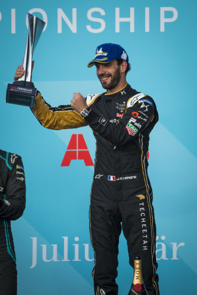 Jean-Eric Vergne (FRA), DS TECHEETAH celebrates victory on the podium