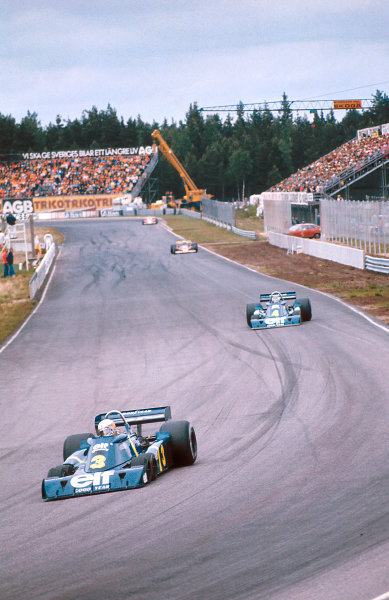 1976 Swedish Grand Prix.Anderstorp, Sweden.11-13 June 1976.Jody Scheckter followed by teammate Patrick Depailler (both Tyrrell P34 Ford's) They finished in 1st and 2nd positions respectively. This was the cars only Grand Prix win.Ref-76 SWE 06.World Copyright - LAT Photographic