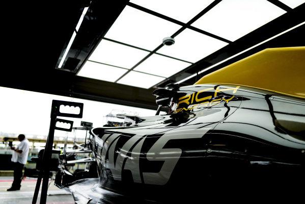 Car of Romain Grosjean, Haas VF-19 in the garage