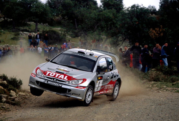 World Rally Championship Cyprus Rally, Cyprus. 18th - 21st April 2002.  Richard Burns / Robert Reid, Peugeot 206 WRC, 2nd position overall.  World Copyright: McKlein/LAT Photographic ref: 35mm Image A10