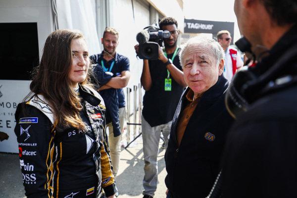 Jean Todt, FIA President talks to Tatiana Calderon (COL), DS TECHEETAH