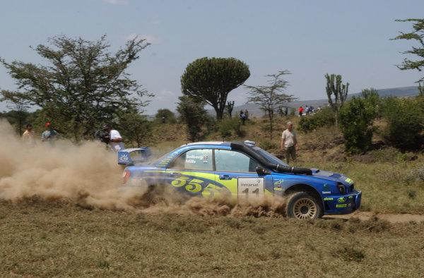 2002 World Rally Championship.Safari Rally, Nairobi Kenya, July 11-14th.Petter Solberg during shakedown.Photo: Ralph Hardwick/LAT