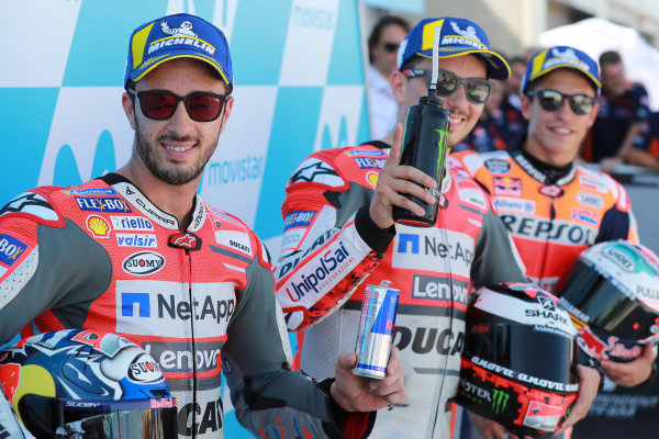 Polesitter Jorge Lorenzo, Ducati Team, second place Andrea Dovizioso, third place Marc Marquez, Repsol Honda Team