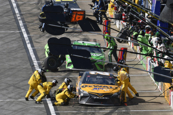 #20: Christopher Bell, Joe Gibbs Racing, Toyota Camry DEWALT and #18: Kyle Busch, Joe Gibbs Racing, Toyota Camry Interstate Batteries