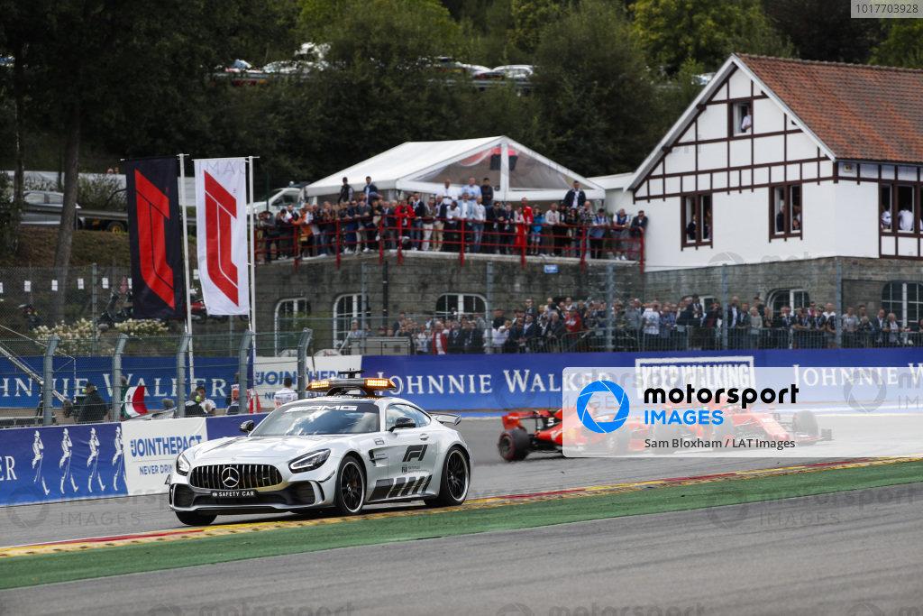 The safety car leads Charles Leclerc, Ferrari SF90 and Sebastian Vettel, Ferrari SF90