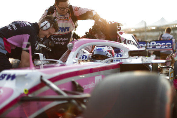 Sergio Perez, Racing Point, on the grid