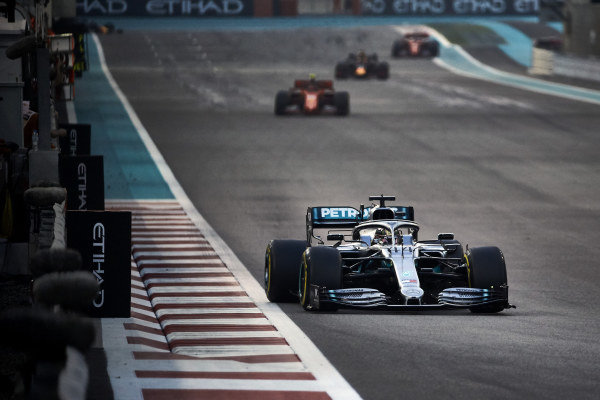 Lewis Hamilton, Mercedes AMG F1 W10, leads Charles Leclerc, Ferrari SF90, and Max Verstappen, Red Bull Racing RB15