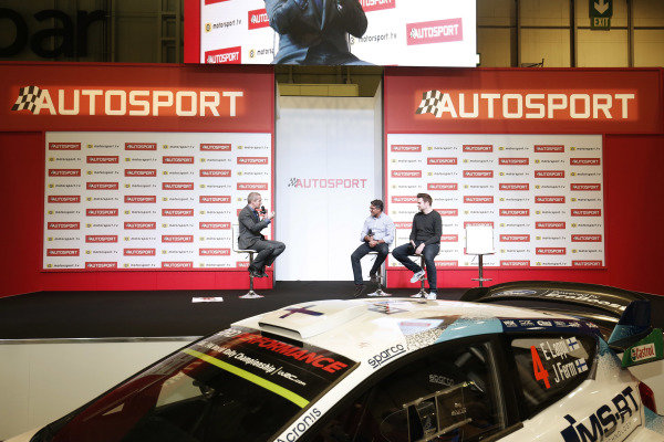 Presenter Stuart Codling talks to Manish Pandey on the Autosport stage