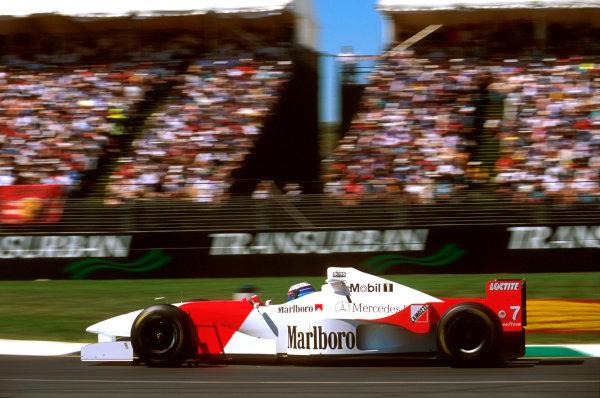Albert Park, Melbourne, Australia.8-10 March 1996.Mika Hakkinen (McLaren MP4/11 Mercedes) 5th position.Ref-96 AUS 33.World Copyright - LAT Photographic