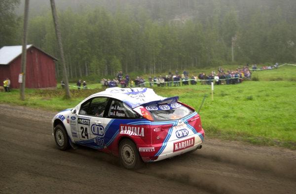 2001 World Rally Championship.Neste Rally Finland. Jyvaskyla, August 24-26, 2001.Jani Paasonen's rolled Focus on stage 10 before retiring on stage 14 after hitting a tree stump.Photo: Ralph Hardwick/LAT