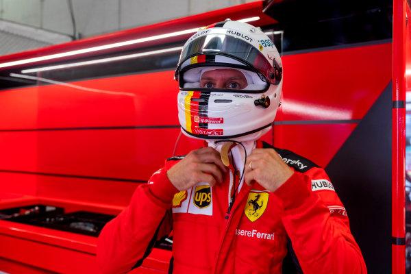 Sebastian Vettel, Ferrari SF1000 in the garage
