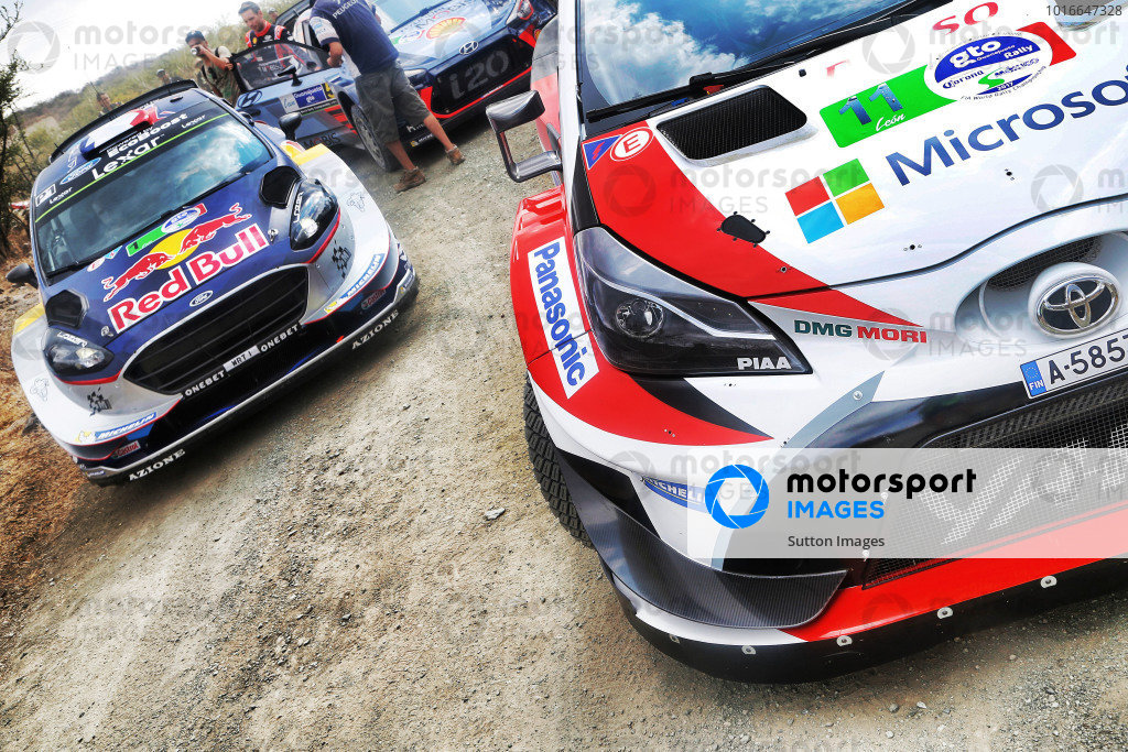 The cars of Juho Hanninen (FIN) / Kaj Lindstrom (FIN), Toyota Gazoo Racing Toyota Yaris WRC and Sebastien Ogier (FRA) / Julien Ingrassia (FRA), M-Sport World Rally Team Ford Fiesta WRC at World Rally Championship, Rd3, Rally Mexico, Preparations and Shakedown, Leon, Mexico, 8 March 2017.