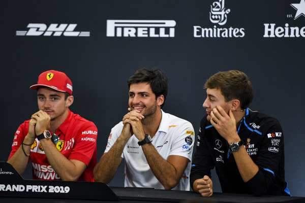 Charles Leclerc, Ferrari, Carlos Sainz Jr, McLaren and George Russell, Williams Racing in the Press Conference