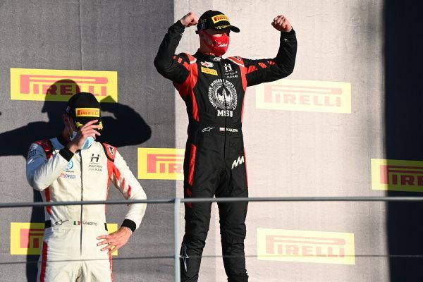 Luca Ghiotto (ITA, HITECH GRAND PRIX), and race winner Nikita Mazepin (RUS, HITECH GRAND PRIX), on the podium