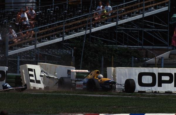 Riccardo Patrese (ITA) Williams FW14/B spins out of the race on the last lap whilst challenging Ayrton Senna for 2nd place. German Grand Prix, Hockenheim, 26 July 1992