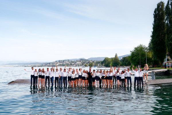 ABB Formula E Team jump into Lake Zurich.