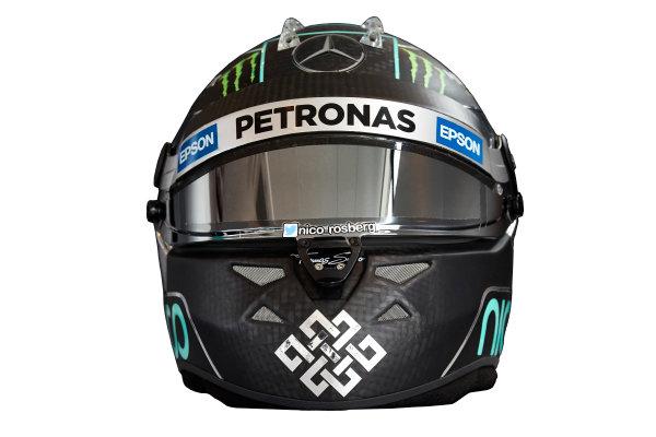 Circuit de Catalunya, Barcelona, Spain. Wednesday 25 February 2015. Helmet of Nico Rosberg, Mercedes AMG.  World Copyright: Mercedes AMG F1 (Copyright Free FOR EDITORIAL USE ONLY) ref: Digital Image 2015_MERCEDES_HELMET_06
