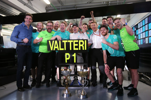 Sochi Autodrom, Sochi, Russia. Sunday 30 April 2017. Valtteri Bottas, Mercedes AMG, celebrates victory with colleagues, including Toto Wolff, Executive Director (Business), Mercedes AMG.  World Copyright: LAT Images ref: Digital Image DJ5R9693