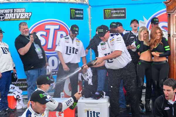 2017 Monster Energy NASCAR Cup Series STP 500 Martinsville Speedway, Martinsville, VA USA Sunday 2 April 2017 Brad Keselowski and team celebrate in victory lane World Copyright: Logan Whitton/LAT Images ref: Digital Image 17MART1LW2784