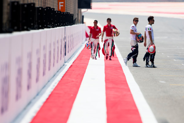 2017 FIA Formula 2 Round 1. Bahrain International Circuit, Sakhir, Bahrain.  Thursday 13 April 2017. Class photo on the grid. Photo: Sam Bloxham/FIA Formula 2. ref: Digital Image _W6I7612