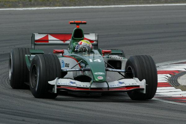 2004 European Grand Prix-Sunday Race,Nurburgring, Germany.29th May 2004. Mark Webber, Jaguar R5 finishes seventh in the race.World Copyright: LAT Photographic. ref: Digital Image Only
